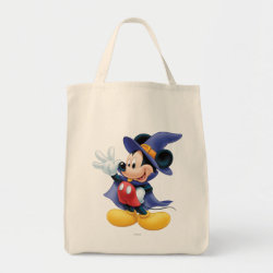 Grocery Tote with Halloween Mickey Mouse as Sorcerer with hat & cape design