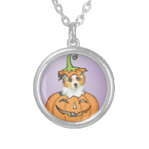 Halloween Miniature American Shepherd Silver Plated Necklace