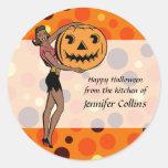 Halloween modelo retro etiquetas redondas