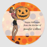 Halloween modelo retro pegatina redonda