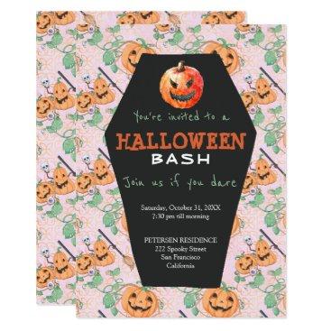 Halloween Themed Halloween modern orange pumpkins broom party card