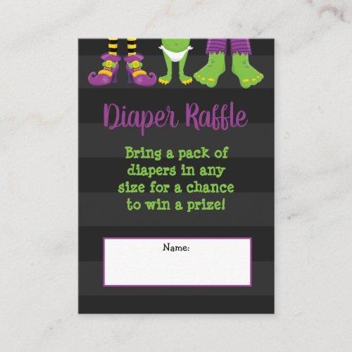 Halloween Monster Baby Shower Diaper Raffle Enclosure Card