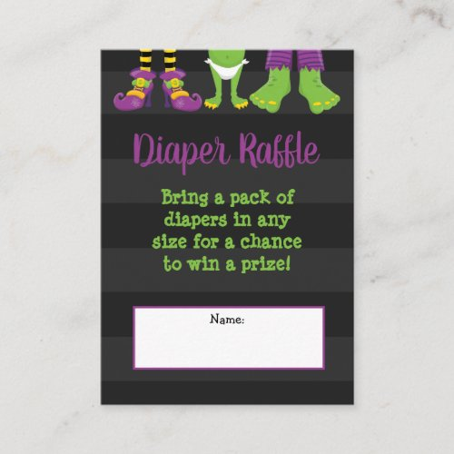 Halloween Monster Baby Shower Diaper Raffle Enclosure Card