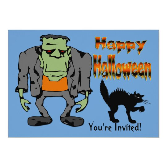 Halloween Monster - Black Cat Invitation