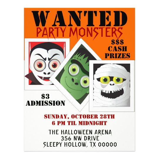 halloween monster costume party invite flyer zazzle com