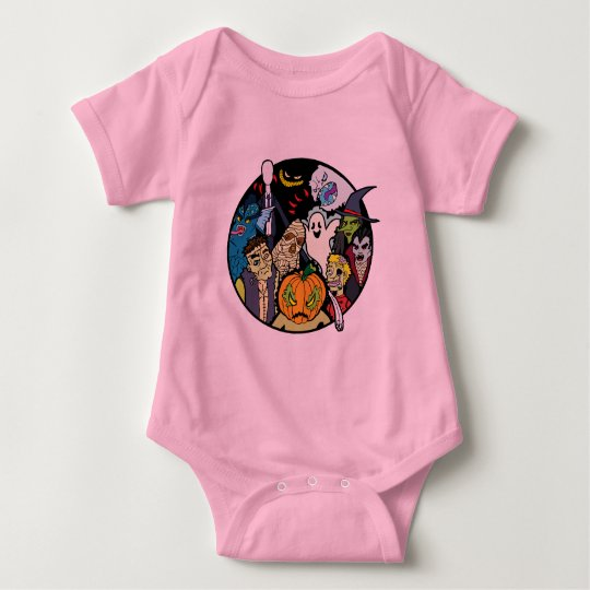 Halloween Monster Group Baby Bodysuit