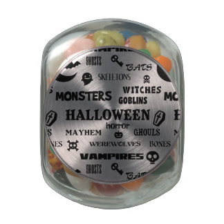 Halloween Monster Mayhem Typography Glass Jars