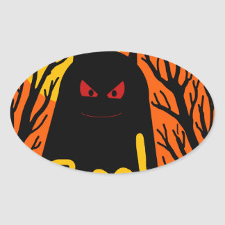 Halloween monster oval sticker
