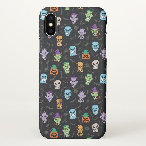 Halloween monsters making scary funny faces iPhone x case