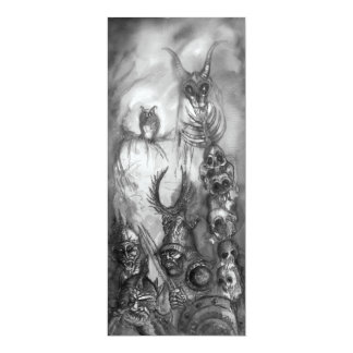 HALLOWEEN MONSTERS,ORC WAR Black White Red Invite