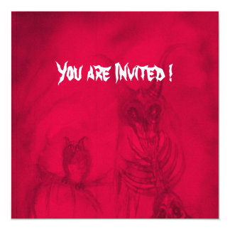 HALLOWEEN MONSTERS / ORC WAR 5.25X5.25 SQUARE PAPER INVITATION CARD