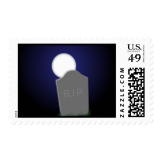 Halloween Moon and R.I.P. Tombstone Postage