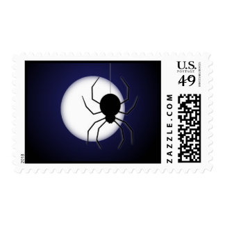 Halloween Moon and Spindly Black Spider Postage
