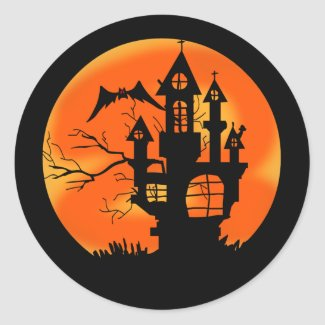 Halloween Moon Classic Round Sticker