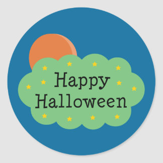 Halloween Moon Classic Round Sticker