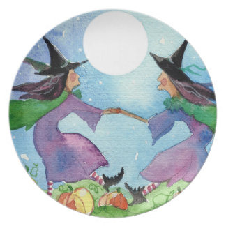 Halloween Moon Dance Witch Plate