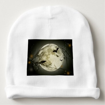 Halloween Themed Halloween moon - full moon illustration baby beanie