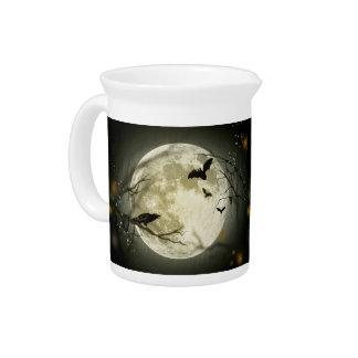 Halloween moon - full moon illustration beverage pitcher