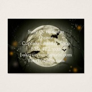 Halloween moon - full moon illustration business card