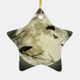 Halloween moon - full moon illustration ceramic ornament
