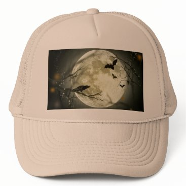 Halloween Themed Halloween moon - full moon illustration trucker hat