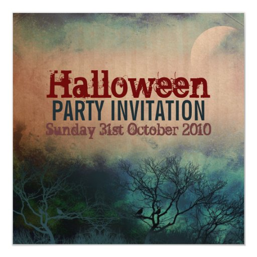 Halloween Moon Grunge Invitation