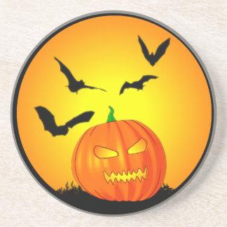 Halloween Moon Jack-O-Lantern Drink Coaster