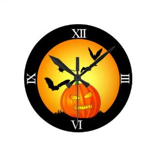 Halloween Moon Jack-O-Lantern Round Wall Clock