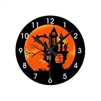 Halloween Moon Round Clock