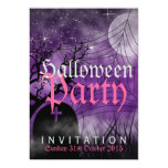 "Halloween Moon & Spider Web Purple Invitation 5"" X 7"" Invitation Card"