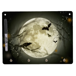 Halloween Moon Spooky Crows Dry Erase Board With Keychain Holder