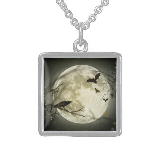 Halloween Moon Spooky Crows Sterling Silver Necklace