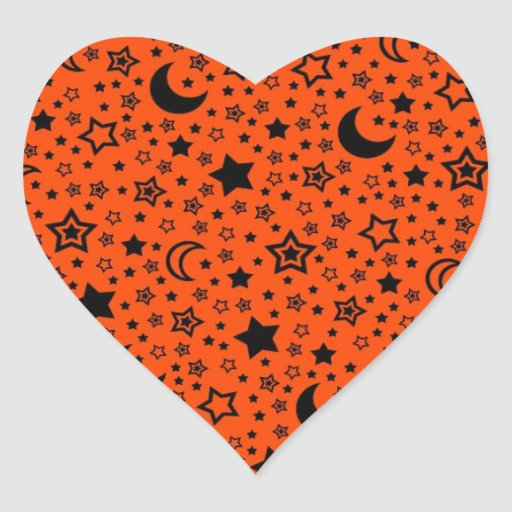 Halloween Moon & Stars Heart Stickers