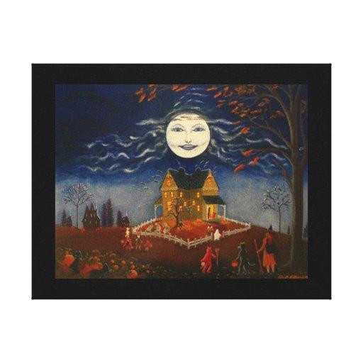 Halloween Moon Trick or Treat Devil Black Cat Canvas Print