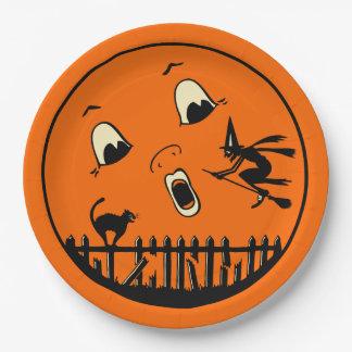 Halloween Moon Vintage Design - Black Cat & Witch Paper Plate