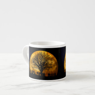 Halloween moon - zombie tree - moon tree espresso cup