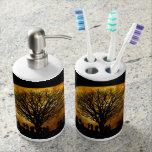 Halloween moon - zombie tree - moon tree soap dispenser & toothbrush holder