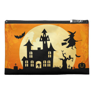 Halloween Moonlight Haunted House in Graveyard Travel Accessory Bags