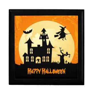 Halloween Moonlight Haunted House in Graveyard Trinket Boxes