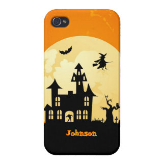 Halloween Moonlight Haunted House in Graveyard Cover For iPhone 4