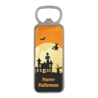 Halloween Moonlight Haunted House in Graveyard Magnetic Bottle Opener