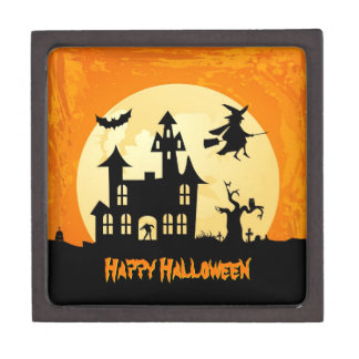 Halloween Moonlight Haunted House in Graveyard Premium Trinket Boxes