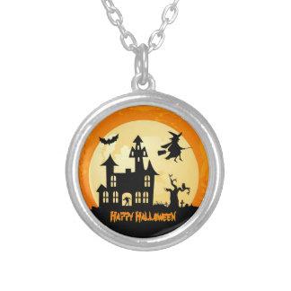 Halloween Moonlight Haunted House in Graveyard Round Pendant Necklace