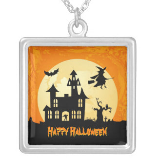 Halloween Moonlight Haunted House in Graveyard Square Pendant Necklace