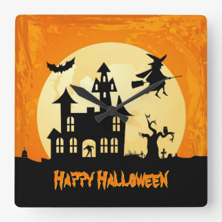 Halloween Moonlight Haunted House in Graveyard Square Wall Clock