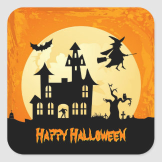 Halloween Moonlight Haunted House in Graveyard Square Stickers