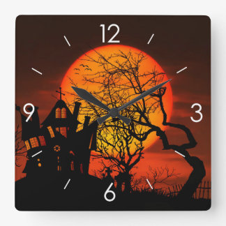 Halloween Moonlight Haunted House Square Wall Clock
