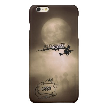 Halloween Themed Halloween Moonlight Name Witch Ghost Graveyard Glossy iPhone 6 Plus Case