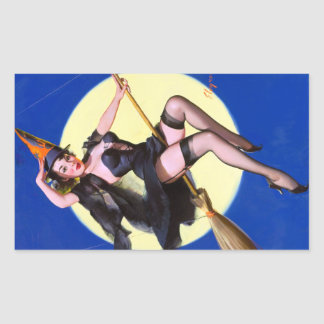 Halloween Moonlight Ride Pin Up Rectangular Sticker