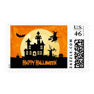 Halloween Moonlight Scary Haunted House Graveyard Stamp